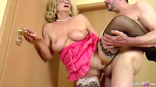 German granny seduce by younger man after shower on floor