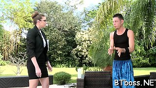 Delightsome babe seduces the boss and fucks his brains out