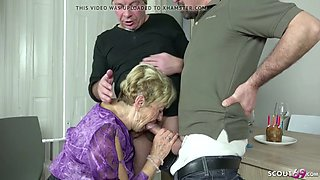 Old grandma seduce 2 young guys to fuck on her birthday