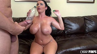 Sophie shows off here natural curves and huge tits on top of a cock