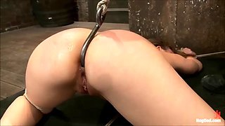 innocent girl is tied up, spanked and forced to cum