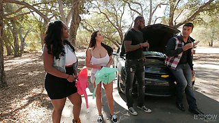 British mega busty milf Angela White is fucked in the forest