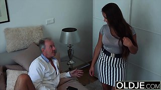 Grandpa Fucks Teen 18years old tight pussy in bedroom