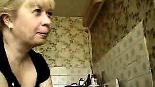 Blonde gives hot smoking handjob blowjob