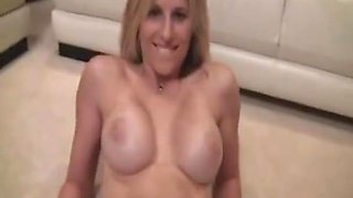 Blonde babe taking american dick deep in her pussy.