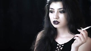 smoking Goth girl
