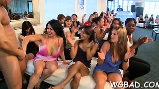 Hotties are engulfing rods hungrily during stripper party