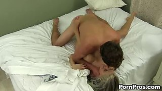 missionary and doggystyle sex on the bed after blowjob with jessa rhodes