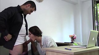 Horny Young Secretary Cum in Mouth With Her Office Boss