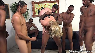 Several studs fuck nasty bitch Madelyn Monroe and jizz on her face