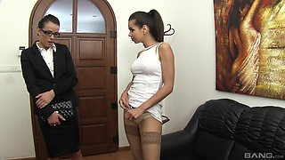 Masturbating with a vibrator can please two brunette lesbians