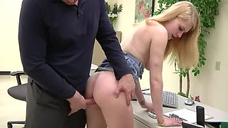 daughter visits daddy's office