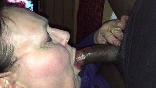 Old bbw sucks and swallows black cock sloppy