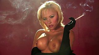 Smoking blonde topless