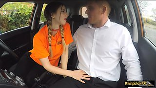 Driving student Stella Cox gets pussy fucked in the car