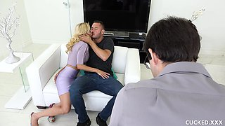 Good-looking Alexis Fawx cuckolding her man with a hot fella