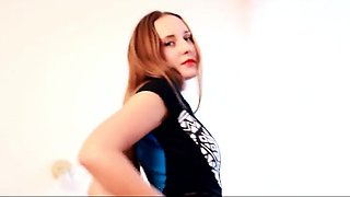 Slave sticks his accommodator into domme's wet pussy while