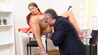 Natural Schoolgirl Gets Seduced And Banged By Her Aged Tutor