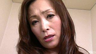 Japanese MILF Miyama Ranko masturbates with dildo