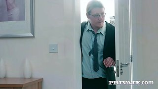 nerdy cuckold watches his hot wife ella hughes fucking her lover