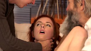 Old young bisexual and fat mature Unexpected practice with a