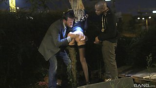 Prostitute in the park gets gangbanged by three guys