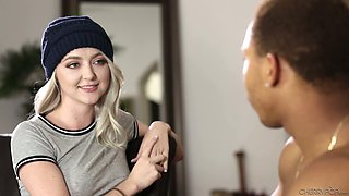 Cute light haired gal in knitted hat Iris Rose gives a nice blowjob