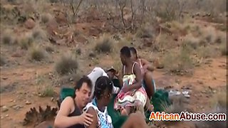 hot african doll sucks and rides hard under the open sky