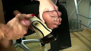 stocking footjob with jizz flow in high heels