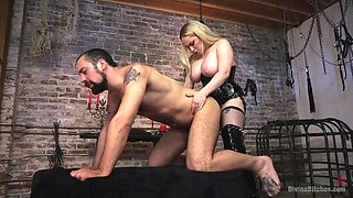 big boobed aiden starr likes to fuck her sex slave in the ass