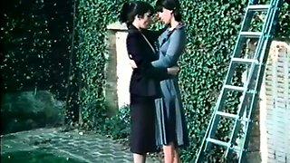 Two lovely white European ladies in the garden having lesbian sex