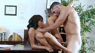 Stunning secretary deals her boss's cock like a charm