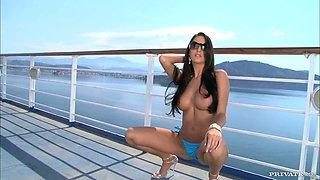 Slender Kortney Kane rides big cock on a ship deck