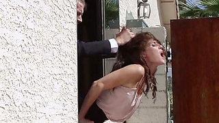 Brunette babe enjoys rough rear banging in hardcore reality clip