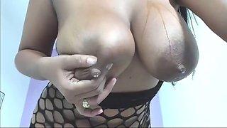 Milk tits natural latina squeezes hanging big nipples