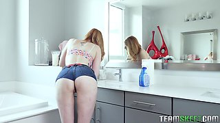 Redhead cutie Lauren Phillips gets her pussy filled with a long dick