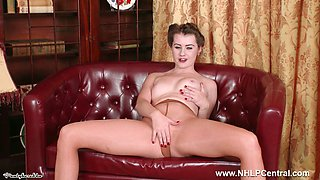 Babe Brooke Logan with small pert tits fingers pussy in tan pantyhose and stilettos