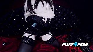Erny Dark - Flirt4Free Fetish - Latex Wearing Goth Goddess Fucks Her Perfect Petite Body