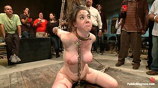 Bitch gets tied up and abused in kinky group bondage sex