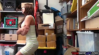 Jail of fuck for this teen shoplifter stuck in his office