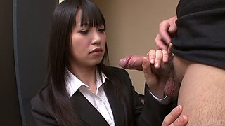 Lustful Asian gal enjoys sucking juicy pole standing on knees