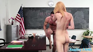 Young schoolgirl rubs her clit while fucking