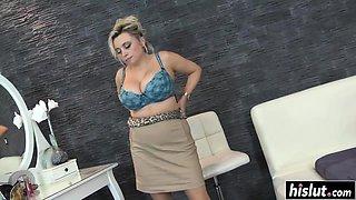 Irresistible girl has fun with a dildo