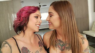 Tattooed emo hottie Anna Belle Peaks is making love with her nasty girlfriend