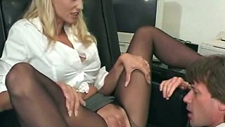 Secretary chick Candy Apples getting her slit fingerfucked