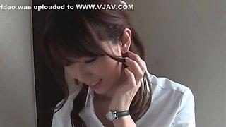 Horny Japanese slut Yui Hatano in Hottest Handjobs, Stockings JAV clip