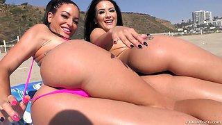 Hot brunette chicks Katrina Jade and Kissa Sins have fun fucking