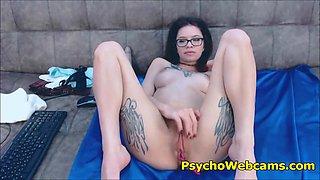 Tattooed Emo Teen With Glasses Psycho Masturbation
