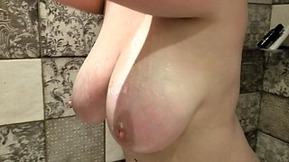More of 38HH tits Lateshay in the shower