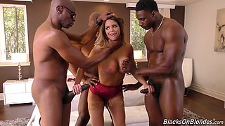 Large-titted Brooklyn Chase gets naked together with several fellas